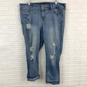 Torrid distressed ripped jegging skinny jeans blue